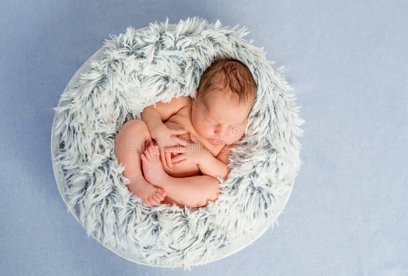 Śmieszny mały nagi nowonarodzony z krzyżować nogami śpi w koszu fotografia royalty free