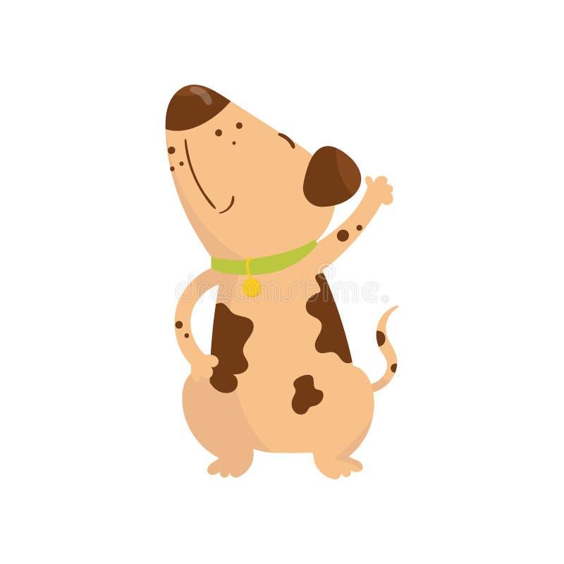 Śmieszny mały pies z brown punktami na ciele Kreskówka szczeniaka charakter z zielonym kołnierzem Ludzki s najlepszy przyjaciel u ilustracja wektor