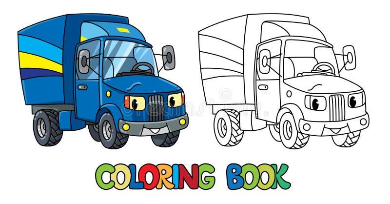 Śmieszny mały poczta samochód z oczami książkowa kolorowa kolorystyki grafiki ilustracja royalty ilustracja