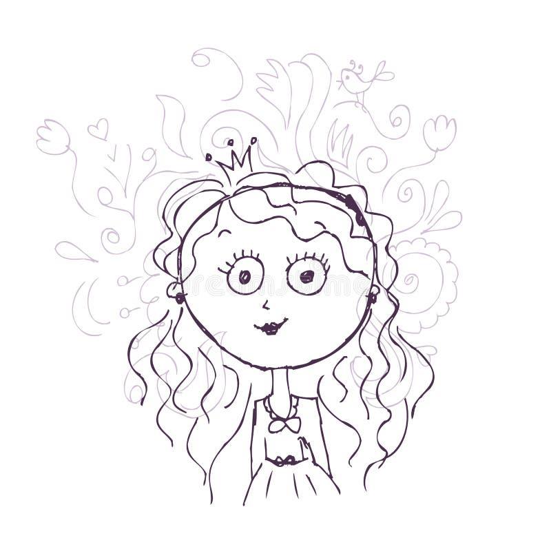 Śmieszny mały princess nakreślenie dla twój projekta ilustracja wektor