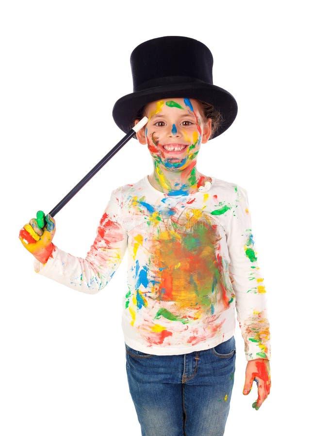 Śmieszny magik z rękami pełno i twarzą farba zdjęcie stock