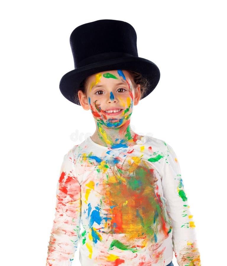 Śmieszny magik z rękami pełno i twarzą farba obraz stock