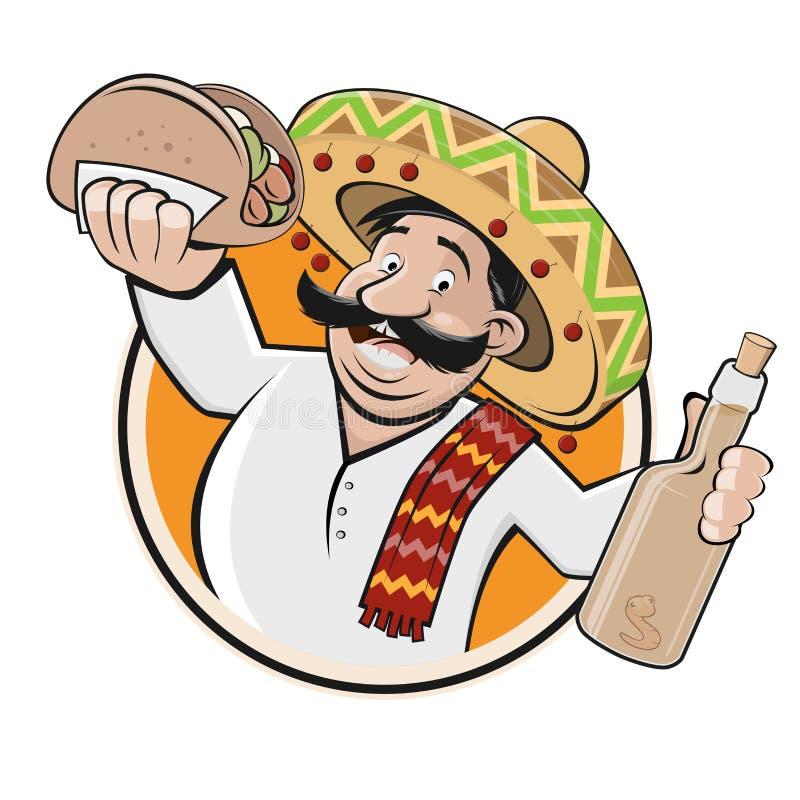 Śmieszny meksykański restauraci lub jedzenia znak royalty ilustracja
