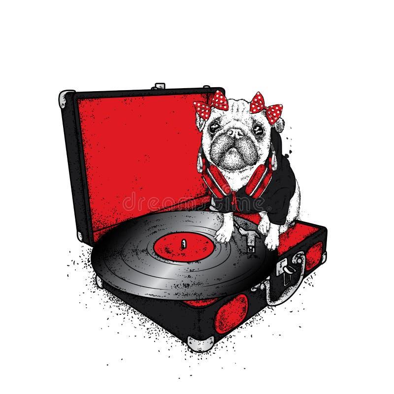 Śmieszny mops z łękiem siedzi na turntable dla winylowych rejestrów Piękny thoroughbred pies również zwrócić corel ilustracji wek ilustracja wektor