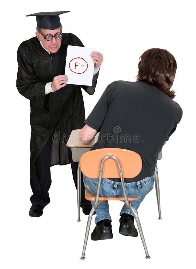 Śmieszny nauczyciel, Studencki Zły Pogarszający się stopień zdjęcia royalty free