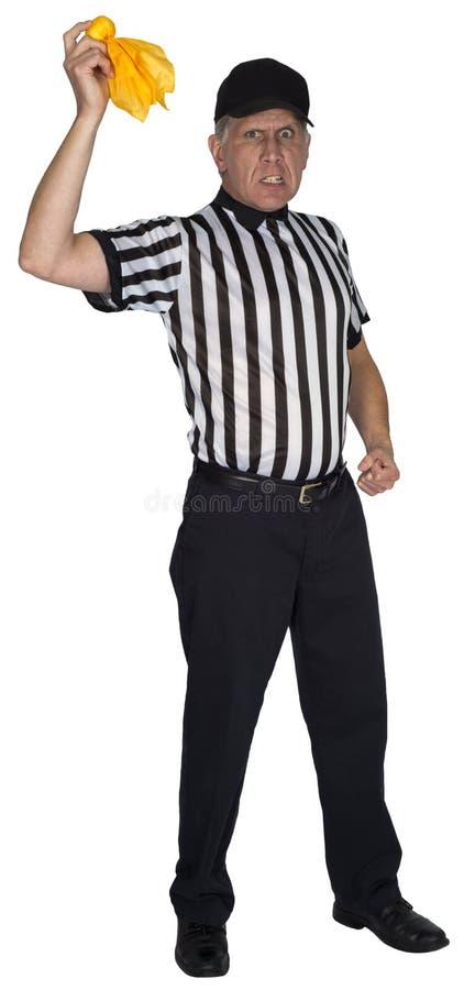 Śmieszny NFL Futbolowy arbiter lub superarbiter, kary flaga, Odizolowywająca zdjęcia royalty free