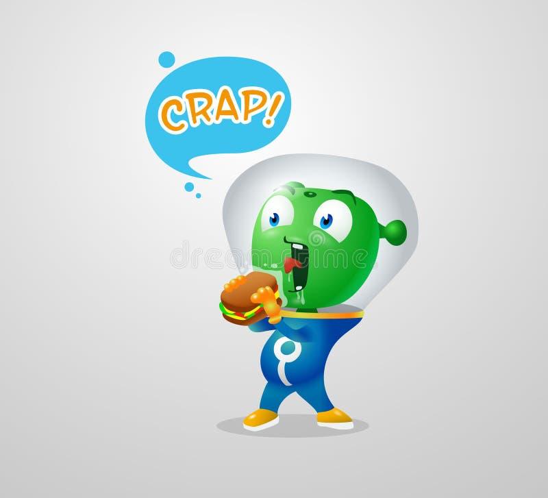 Śmieszny obcy próbować jeść earthy kanapkę ilustracji
