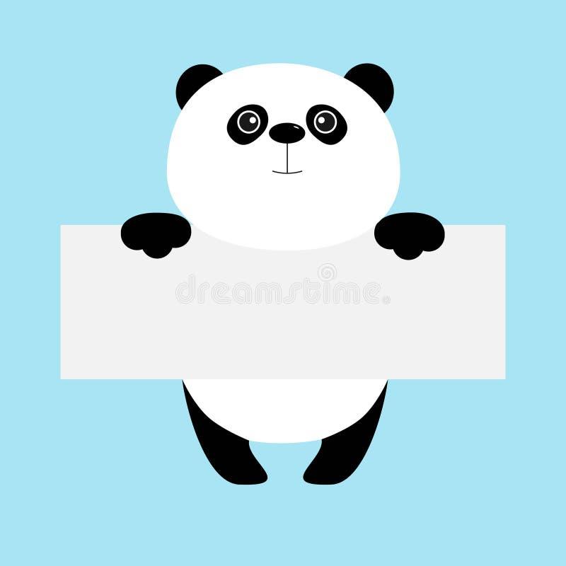 Śmieszny panda niedźwiedź wiesza na papierowej deski szablonie Kawaii zwierzęcia ciało Śliczny postać z kreskówki przyjazdowa dzi ilustracja wektor