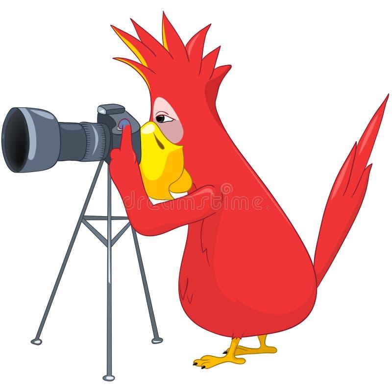 śmieszny papuzi fotograf ilustracja wektor