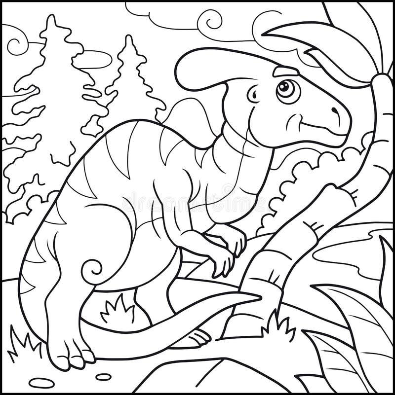 Śmieszny parasaurolophus, kolorystyki książka ilustracja wektor