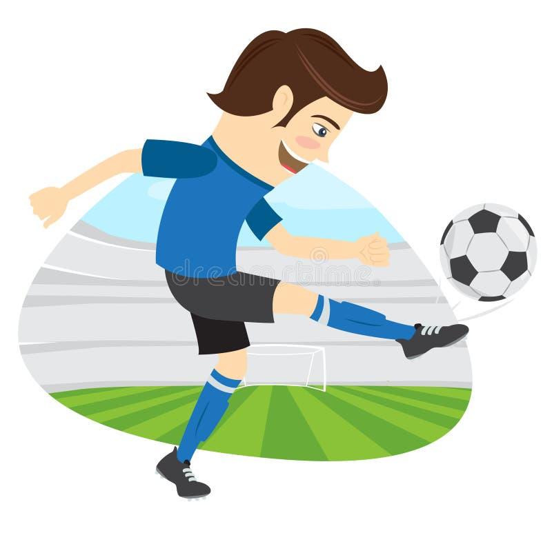 Śmieszny piłka nożna gracz futbolu jest ubranym błękitnej koszulki działającego kickin royalty ilustracja