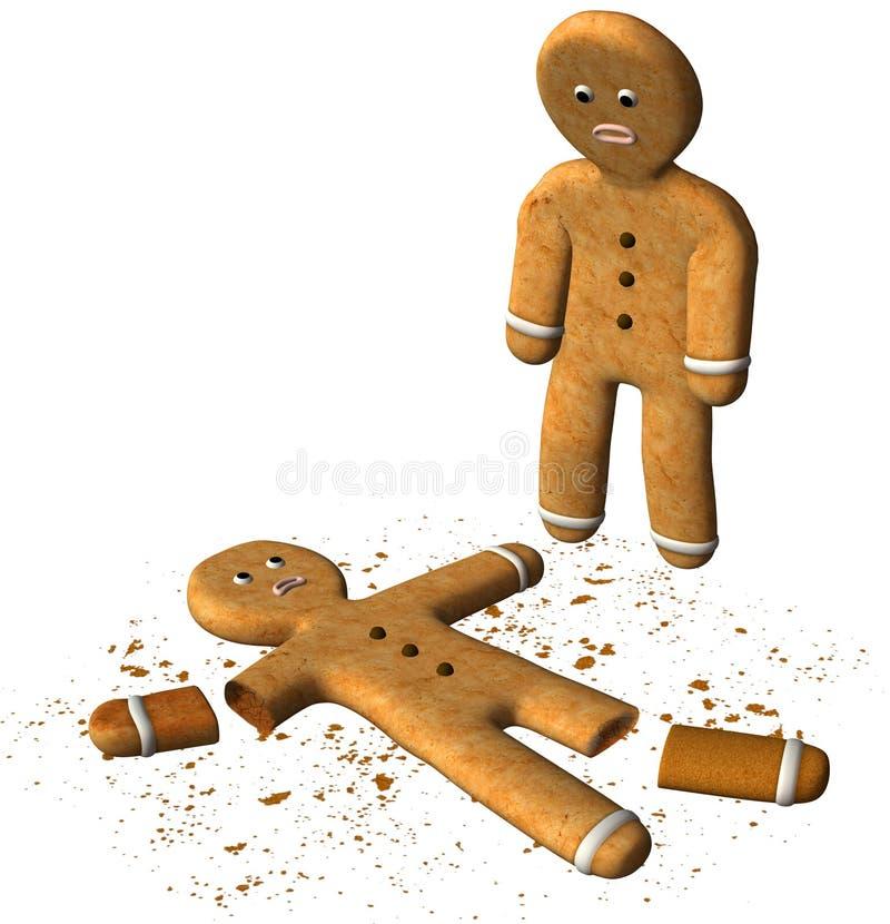 Śmieszny Piernikowego mężczyzna Łamający ciastko Odizolowywający ilustracja wektor