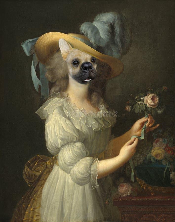Śmieszny pies, Maria Anoinette, Surrealistyczny obraz olejny obrazy royalty free