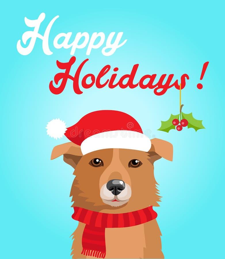 Śmieszny pies Z Bożenarodzeniowym kapeluszem W mieszkanie stylu Szczęśliwych wakacji pocztówkowy projekt zabawny pies ilustracja wektor