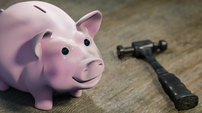Śmieszny Pigy bank na drewnianym biurku - 3d ilustracja obrazy royalty free
