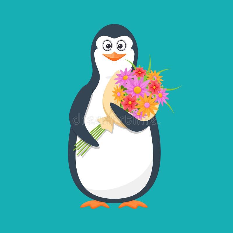 Śmieszny pingwin, Antarktyczny ptak z wielkimi bukietów kwiatami i uśmiechem, ilustracja wektor