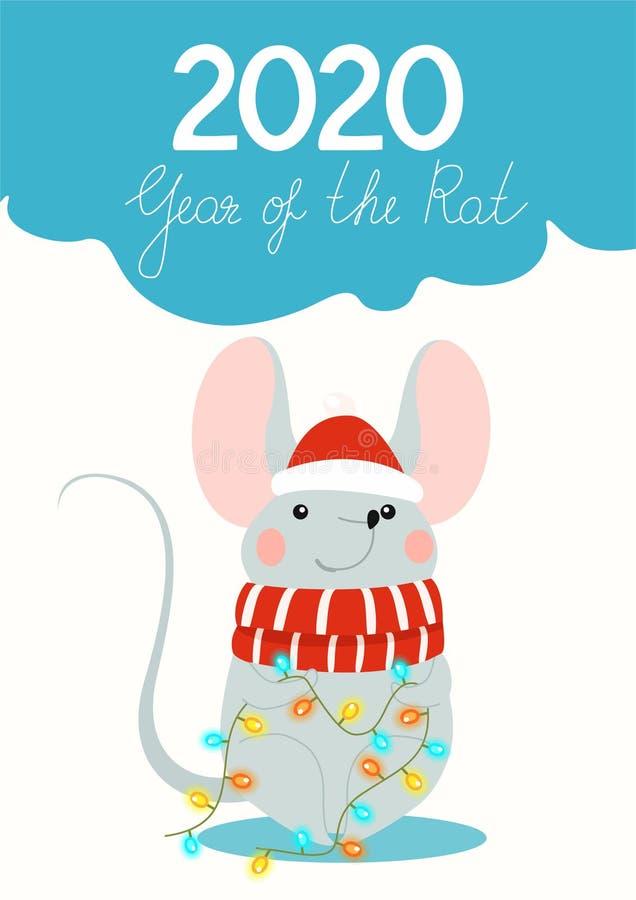 Śmieszny plakat dla Nowych 2020 rok z ślicznym szczurem i bożonarodzeniowymi światłami w roku szczura nowego roku karty r?wnie? z royalty ilustracja