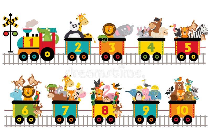 Śmieszny pociąg z liczbą zwierzęta ilustracja wektor