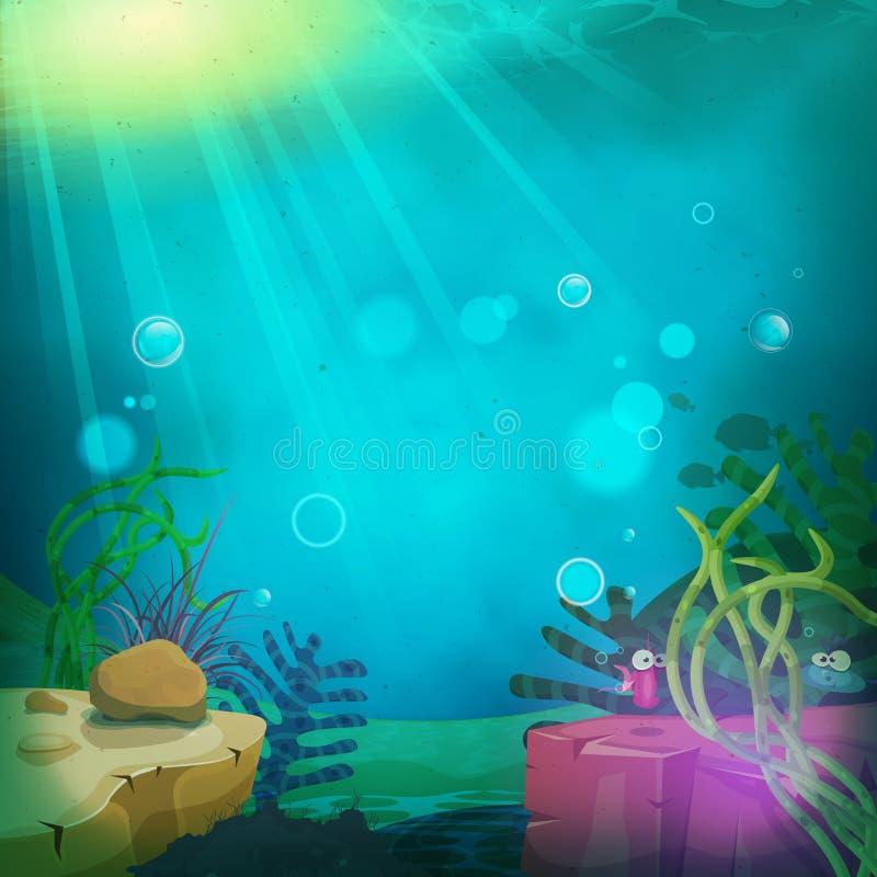 Śmieszny Podwodny oceanu krajobraz ilustracja wektor