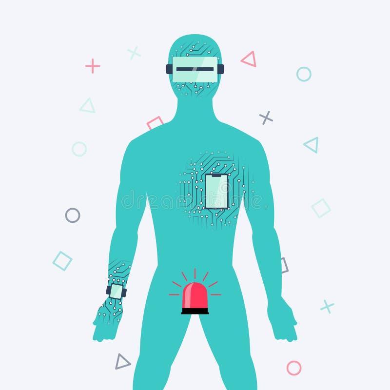 Śmieszny pojęcie wpływ technologia na istotach ludzkich ilustracja wektor