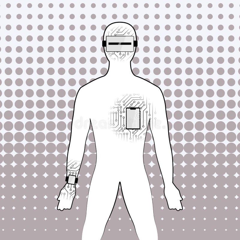 Śmieszny pojęcie wpływ technologia na istotach ludzkich royalty ilustracja