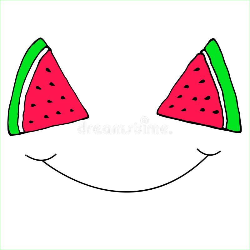 Śmieszny pokrojony plasterka arbuza uśmiech, ilustracji