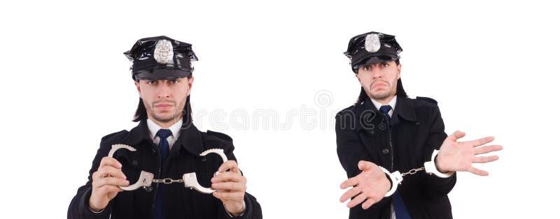 Śmieszny policjant odizolowywający na bielu fotografia stock