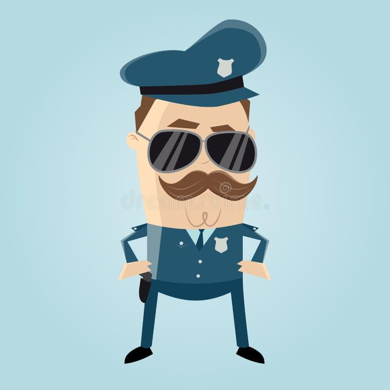 Śmieszny policjant z okularami przeciwsłonecznymi i wąsy ilustracji