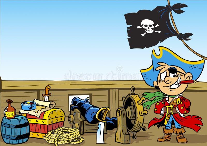Śmieszny potomstwo pirat royalty ilustracja