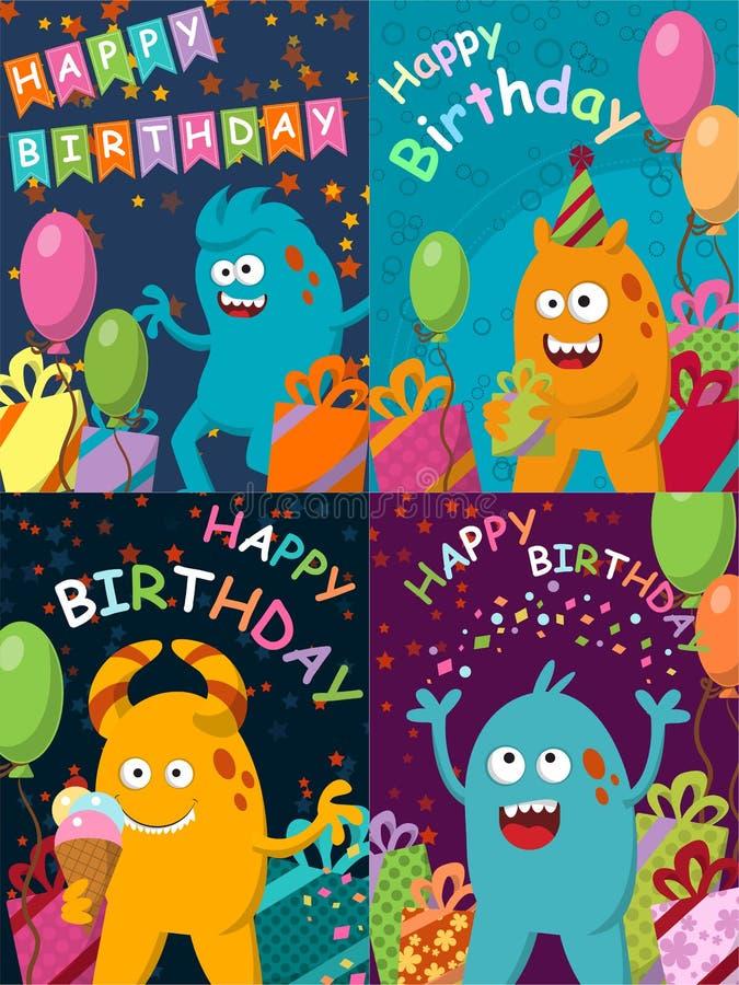Śmieszny potwór z prezentami i balonami szczęśliwy urodziny ilustracja wektor