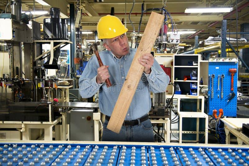 Śmieszny pracownik fabryczny, Akcydensowy bezpieczeństwo zdjęcia royalty free