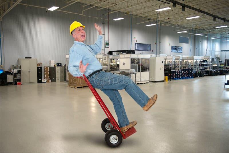 Śmieszny pracownik fabryczny, Akcydensowy bezpieczeństwo obrazy royalty free