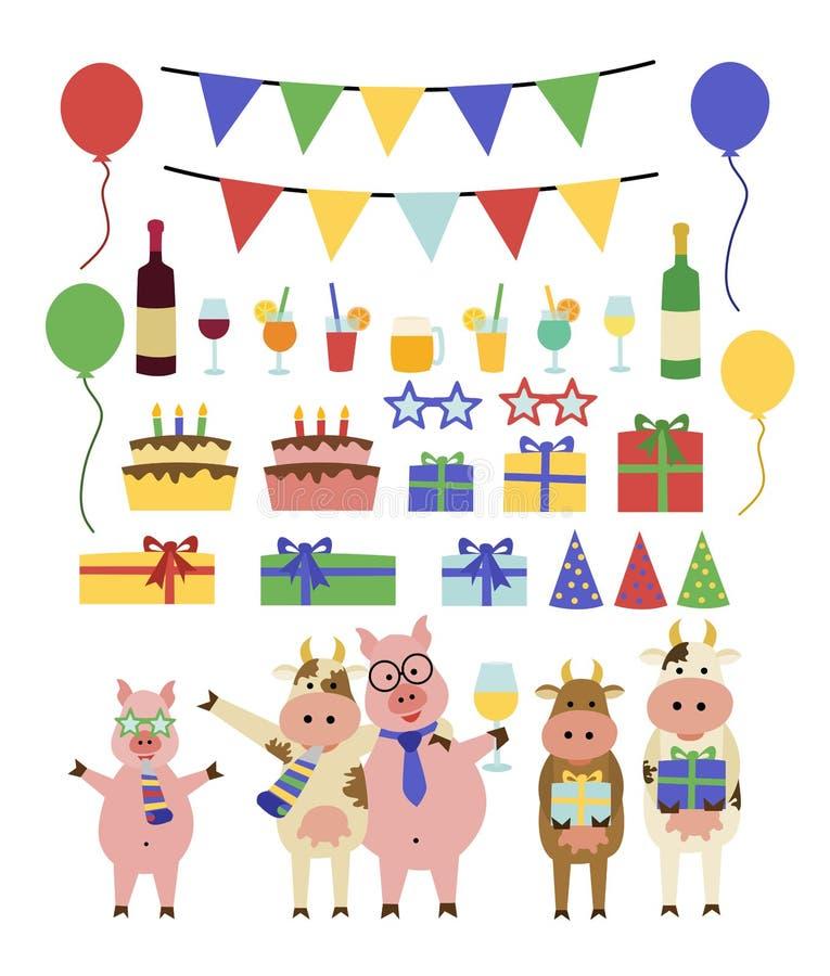 Śmieszny przyjęcie urodzinowe set royalty ilustracja