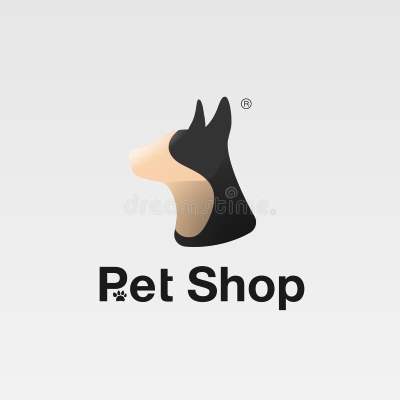 Śmieszny psi symbol, zwierzę domowe emblemat, weterynaryjny klinika logo lub zwierzę domowe sklep, ilustracja wektor