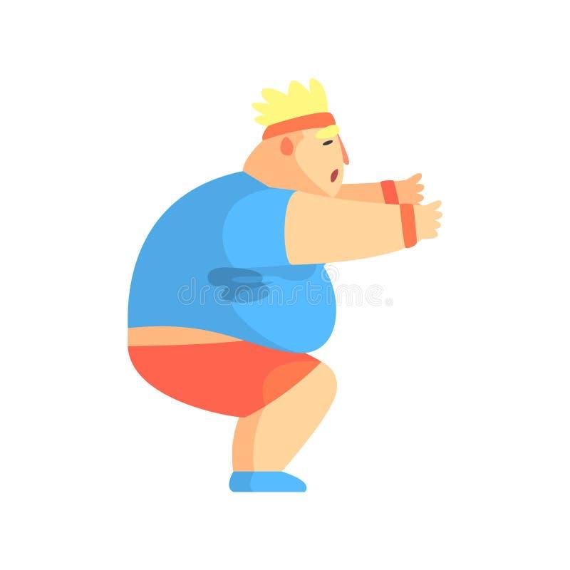 Śmieszny Pyzaty mężczyzna charakter Podnosi Przy Gym treningu pocenia ilustracją Robić Siedzi ilustracja wektor