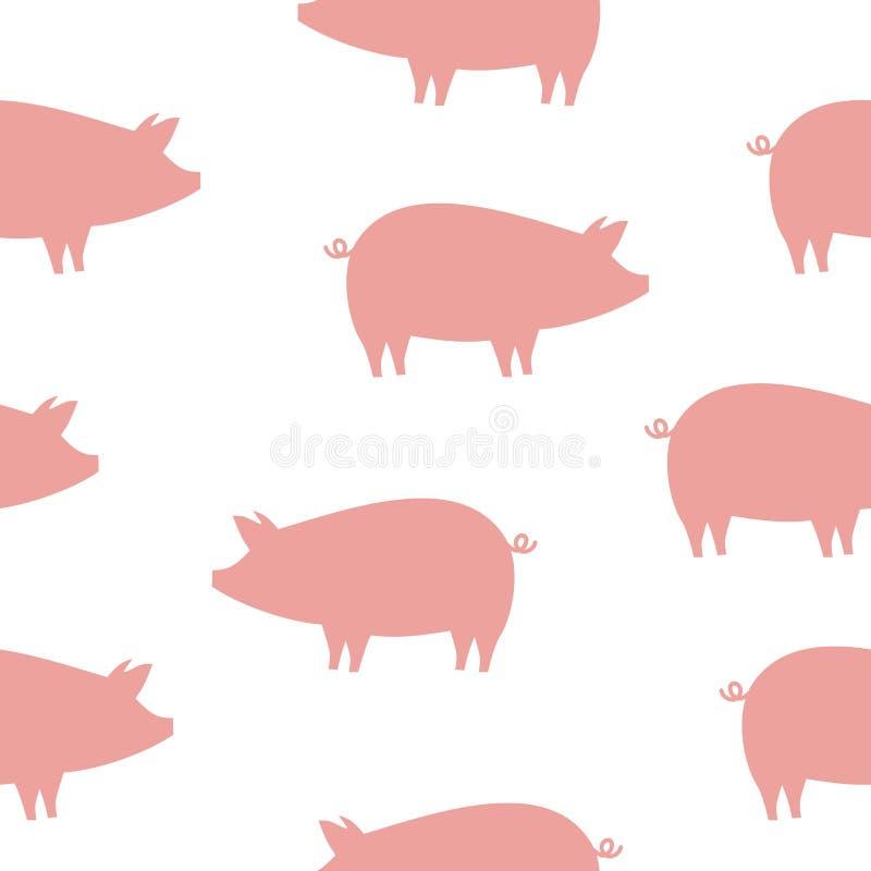 Śmieszny różowy świnia wzór w profilu royalty ilustracja