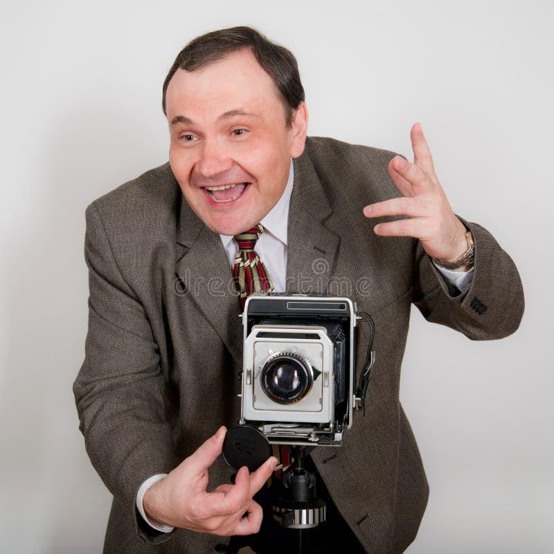 Śmieszny Retro Fotograf zdjęcie stock