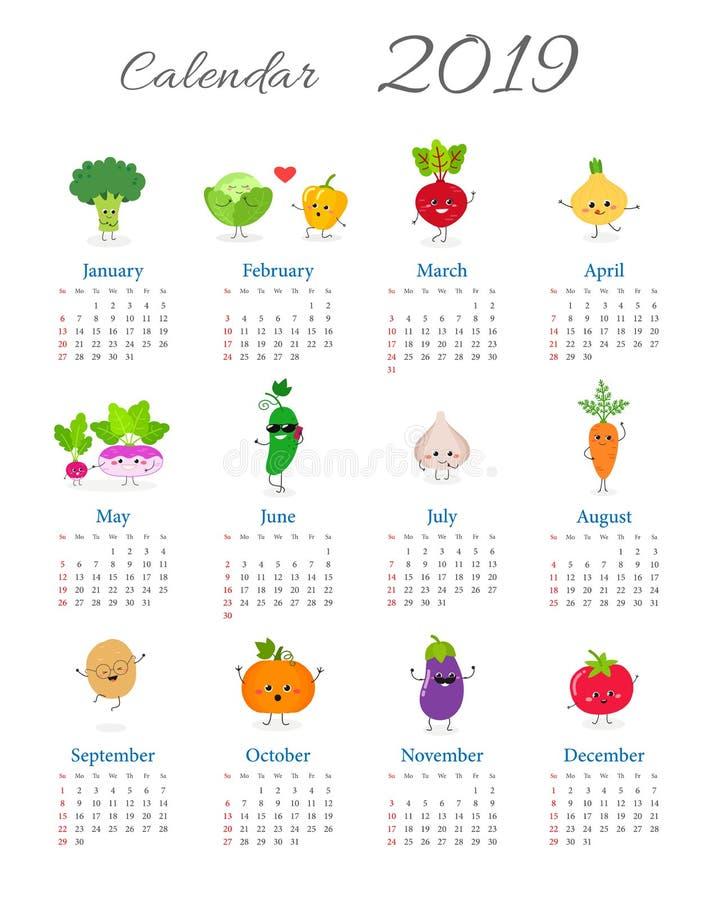 Śmieszny rocznika kalendarz 2019 royalty ilustracja