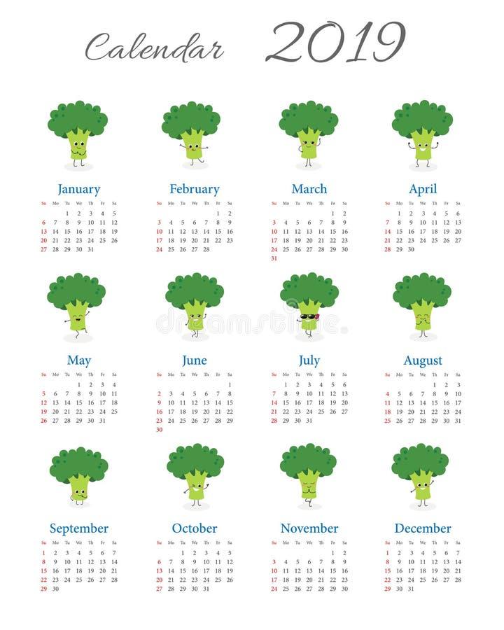 Śmieszny roczny brokułu kalendarz 2019 ilustracji