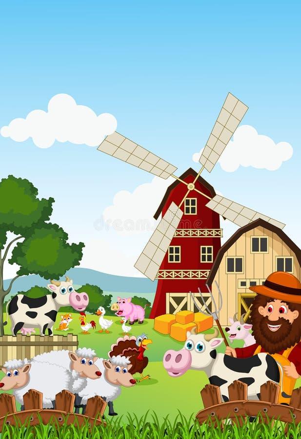 Śmieszny rolnik przy jego gospodarstwem rolnym z wiązką zwierzęta gospodarskie royalty ilustracja