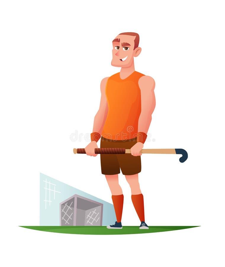 Śmieszny rozochocony gracz w śródpolnym hokeju Wektorowy postać z kreskówki projekt royalty ilustracja