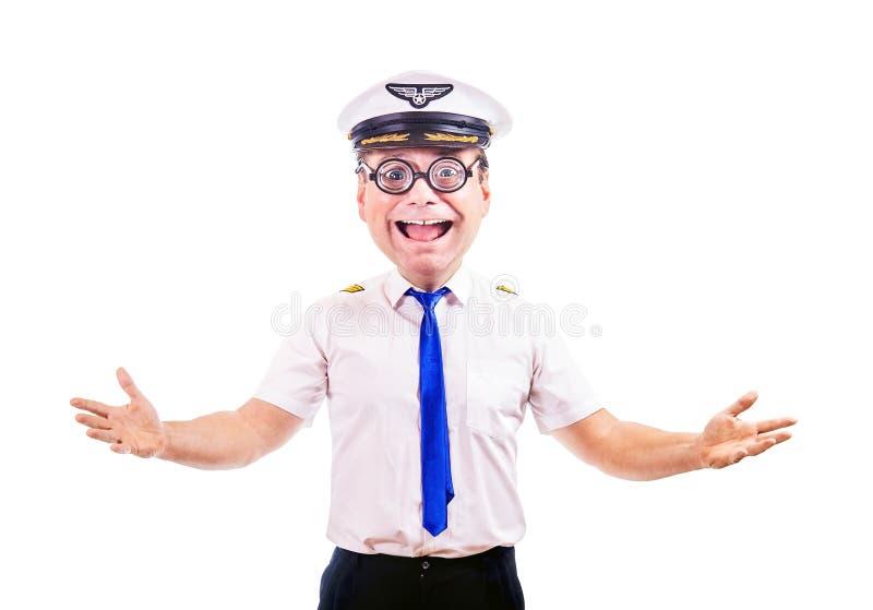 Śmieszny rozochocony pilot z szkłami fotografia royalty free