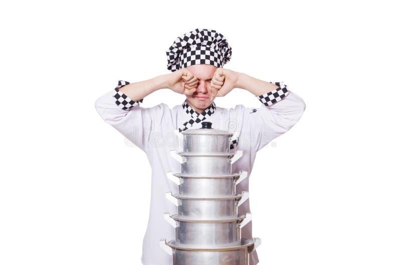 Śmieszny samiec kucharz odizolowywający obraz royalty free