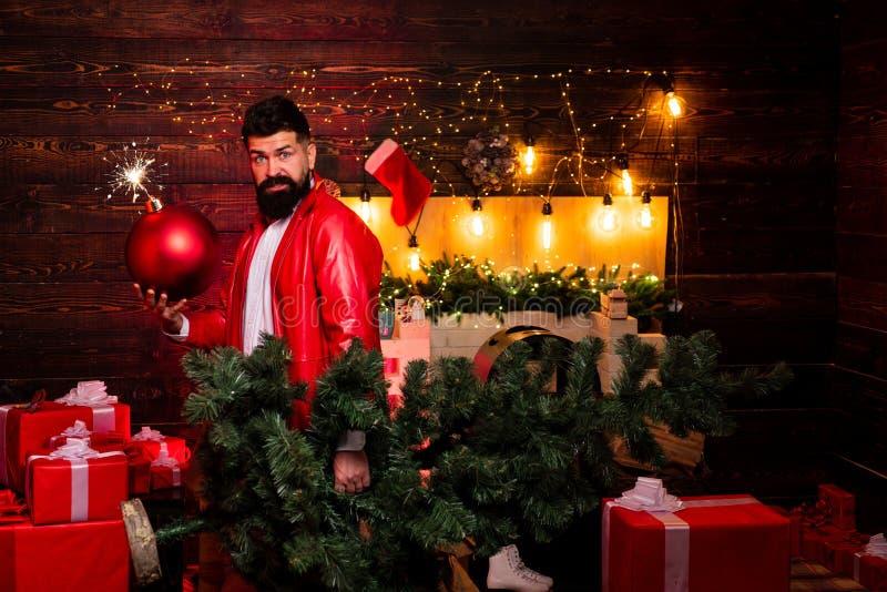 Śmieszny Santa życzy Wesoło boże narodzenia i Szczęśliwego nowego roku Santa claus szczęśliwy sprzedaż nowego roku Przyjęcie gwia fotografia stock