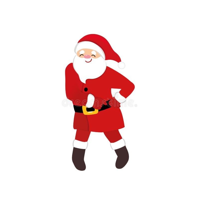 Śmieszny Santa dyskoteki tancerz, kreskówki animacji charakter, szalony retro taniec ilustracja wektor