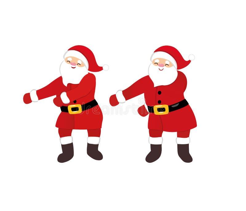 Śmieszny Santa tana floss jak szefa meme, dziwaczna kreskówka tanczy komicznego charakteru royalty ilustracja