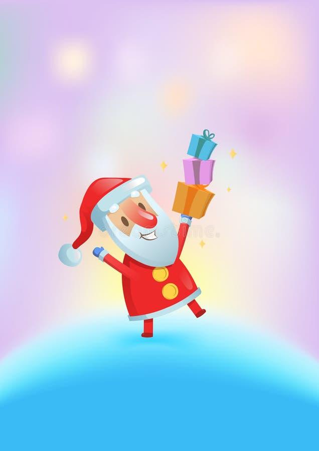 Śmieszny Santa z teraźniejszość tanczy wśród jaskrawych świateł więcej toreb, Świąt oszronieją Klaus Santa niebo Płaska wektorowa ilustracji