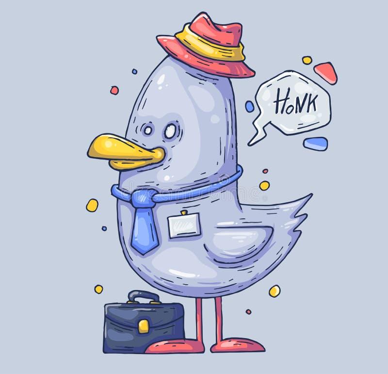 Śmieszny seagull kierownik Ptak w kapeluszu Kreskówki ilustracja dla druku i sieci Charakter w nowożytnym grafika stylu ilustracji