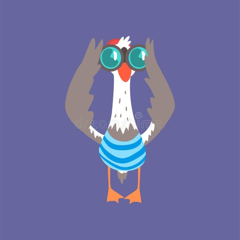 Śmieszny seagull patrzeje przez lornetek, śliczna komiczna ptasia charakter kreskówki wektoru ilustracja ilustracji