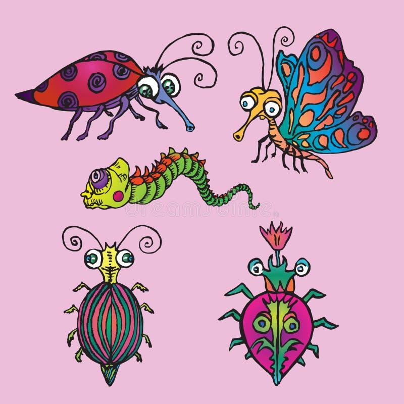 Śmieszny set czerwona polka kropkująca biedronka, motyl, ćma, zielona gąsienica lub pluskwy, ręka rysujący doodle koloru nakreśle ilustracji
